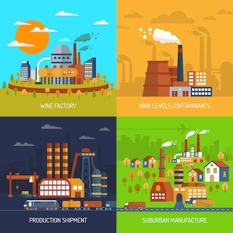 Industriële fabrieken en planten flat set