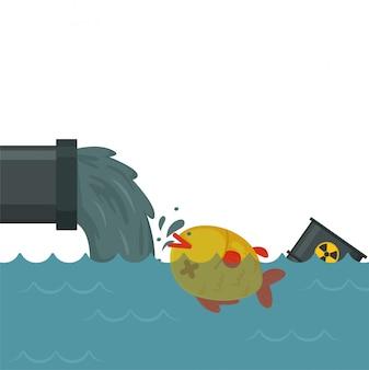 Industriële fabrieken geven giftige chemicaliën af in de zee, waardoor vissen sterven.