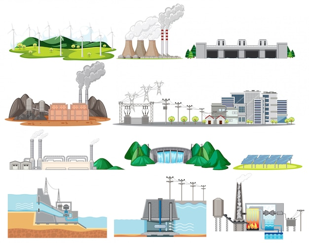 Industriële fabriekenbouw die op witte achtergrond wordt geïsoleerd