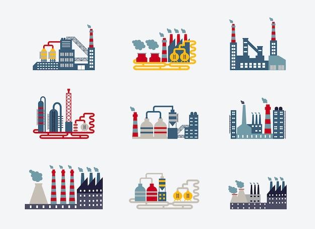 Industriële fabrieksgebouwen pictogrammen