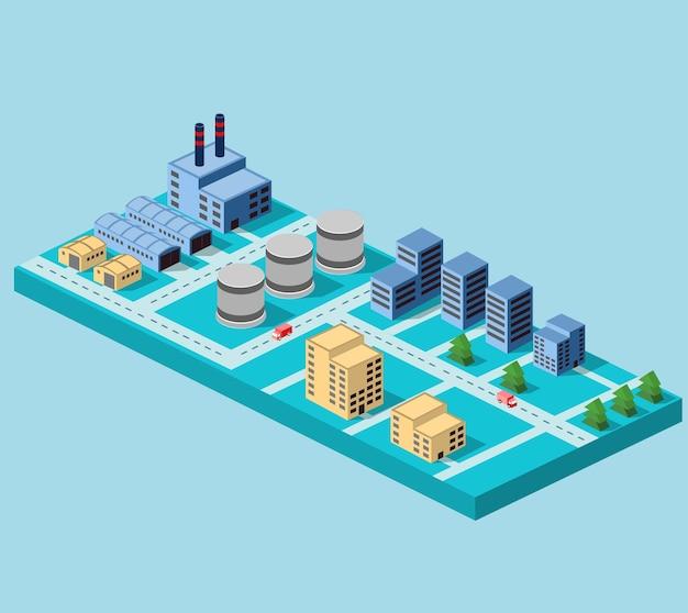 Industriële gebouwen, fabrieken en ketels in perspectief