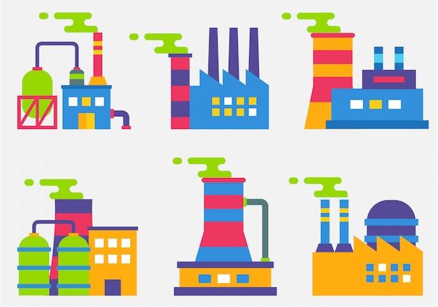 Industriële gebouwen platte ontwerp vector 02