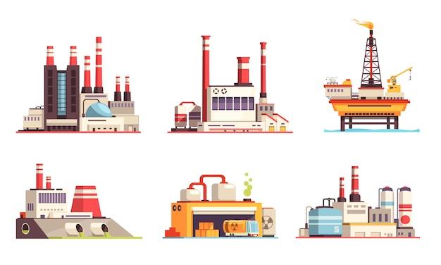 Industriële gebouwen platte set van aardolie-industrie elektriciteitscentrales centrales olie offshore platform geïsoleerde illustratie