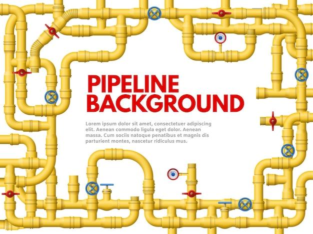 Industriële gele pijpleiding. pijpleidingframe, gele pijpen voor gas of olie vectorillustratie als achtergrond.