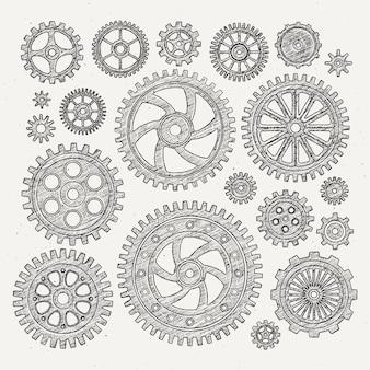 Industriële illustratieset mechanische metaalwielentoestellen en tandraderen.