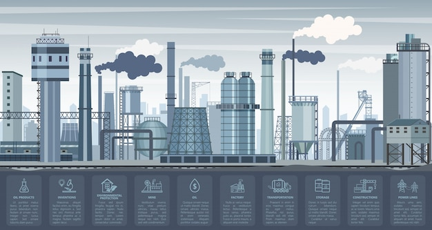 Industriële infographics met fabrieken en planten en pictogrammen symbolen grafieken. industrie illustratie.