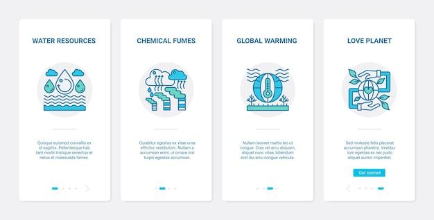 Industriële invloed op ecologie ux onboarding mobiele app-paginaschermset