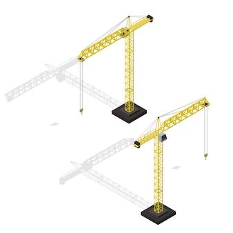 Industriële kraan set isometrische weergave apparatuur voor bouwbedrijf. illustratie