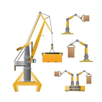 Industriële kraan voor het hijsen van goederen. goed voor ontwerp op het gebied van distributie, logistiek en vracht. geïsoleerd. vector.