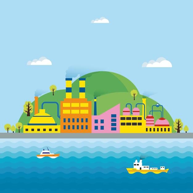 Industriële landschappen en industriële gebouwen. ketel gebouw. kracht opbouwen. magazijnen gebouw. fabrieken bouwen. het onderstationgebouw. gebouwen stedelijke industriële gebouwen.