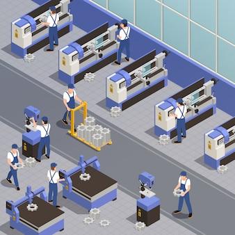 Industriële machines met isometrische symbolen van fabrieksapparatuur