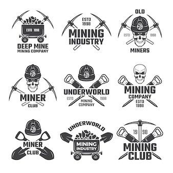 Industriële minerale mijnbouw logo set