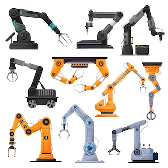 Industriële robotmanipulatoren, robotarmen of mechanische handen.