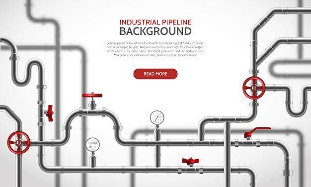 Industriële staalpijpleiding met rode tapkranen realistische vectorillustratie