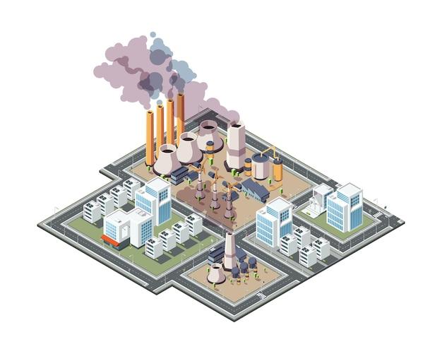 Industriële stad. stedelijke fabrieksvervuiling luchtafval in stad 3d laag poly isometrische gebouwen vector. vervuiling stad stedelijke, fabriek industriële illustratie
