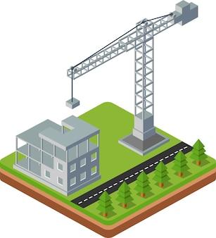 Industriële stadsbouw met bouwkranen en de bouw van huizen