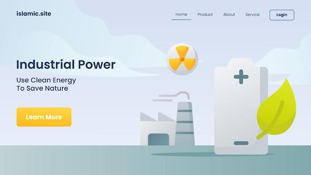 Industriële stroom gebruikt schone energie om de natuur te redden voor de landingshomepage van de websitesjabloon, platte geïsoleerde achtergrond vectorontwerpillustratie