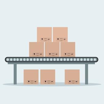 Industriële transportband met verpakking