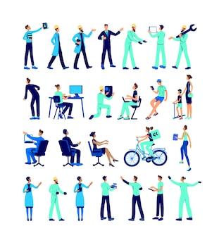Industriële werknemers egale kleur gezichtsloze tekenset