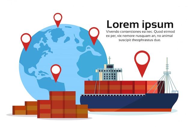 Industriële zee vrachtschip lading logistiek container wereldkaart geo tag navigatie import export water