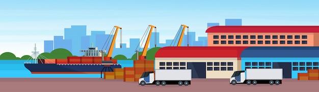 Industriële zeehaven vrachtschip lading semi vrachtwagen kraan logistiek laden magazijn water levering