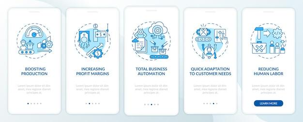 Industry 4.0 heeft als doel het paginascherm van mobiele apps met concepten te introduceren. productiviteit verhogen, stappen voor bedrijfsautomatisering. ui-sjabloon met rgb-kleur