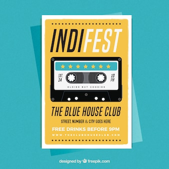 Indy muziek feestaffiche