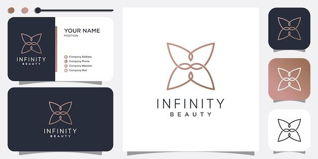 Infinity beauty-logo-ontwerp met creatieve lijnstijl premium vector