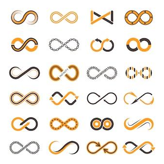 Infinity iconen. contouren van vormen van eeuwigheid vector tweekleurige symbolen