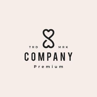 Infinity liefde hart eindeloze mobius grenzeloze hipster vintage logo vector pictogram illustratie