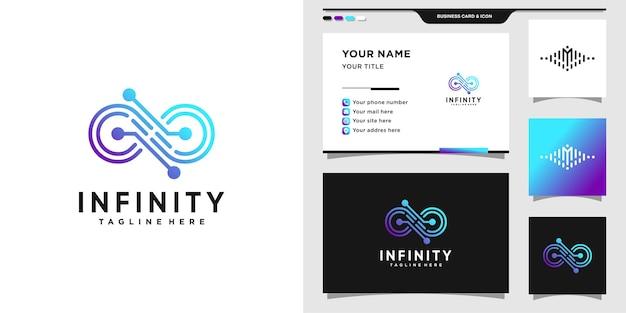 Infinity-logo met technische gradiëntstijl en visitekaartjeontwerp