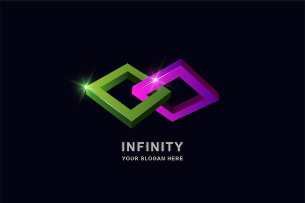 Infinity of frame vierkante logo ontwerpsjabloon Premium Vector