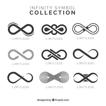 Infinity-symbolenverzameling in zwarte kleur