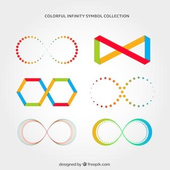Infinity symbool collectie met kleuren