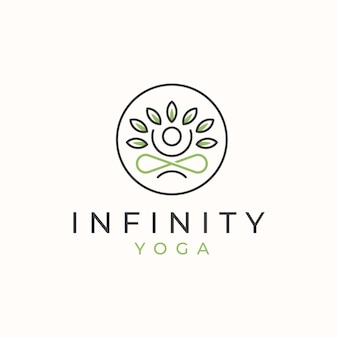 Infinity yoga-logo met bladlogo-sjabloon.