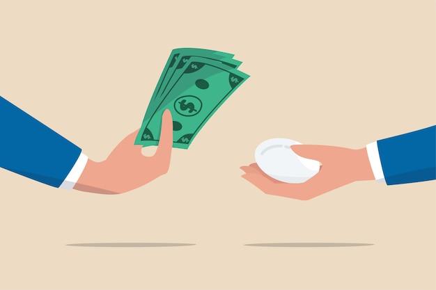 Inflatie, vermindering van de geldwaarde om de prijs van een consumentenproduct te kopen of de levering van voedselkosten hoger concept