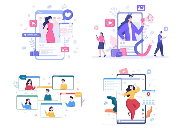 Influencer blogger content creator achtergrond van het delen van momenten op sociale netwerken of het maken van post naar poster vectorillustratie