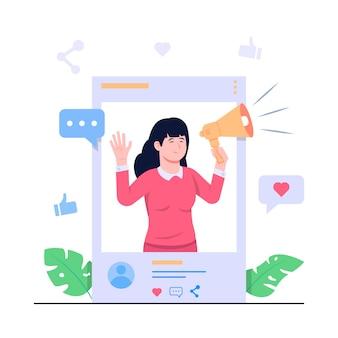 Influencer concept illustratie
