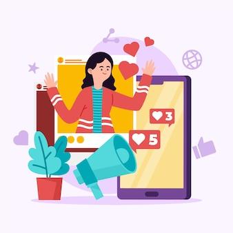 Influencer concept met vrouw
