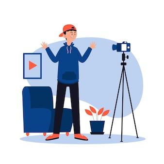 Influencer die een nieuw videoconcept opneemt