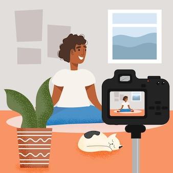 Influencer die nieuw videoillustratieconcept opnemen