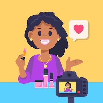 Influencer die nieuwe video-illustratie opneemt