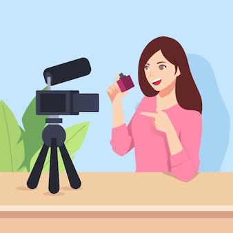 Influencer die nieuwe video met camera opneemt