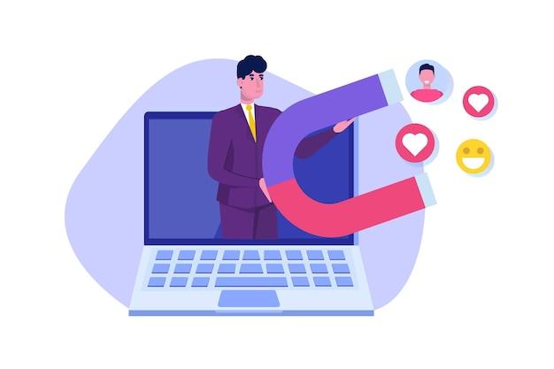 Influencer digitaal marketingconcept, betrokken bij volgers, sociale campagne.