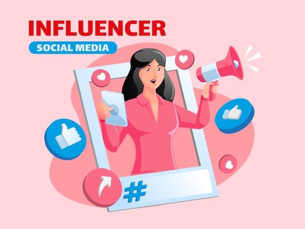 Influencer en promoot sociale media met megafoon