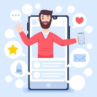 Influencer man en blogging review