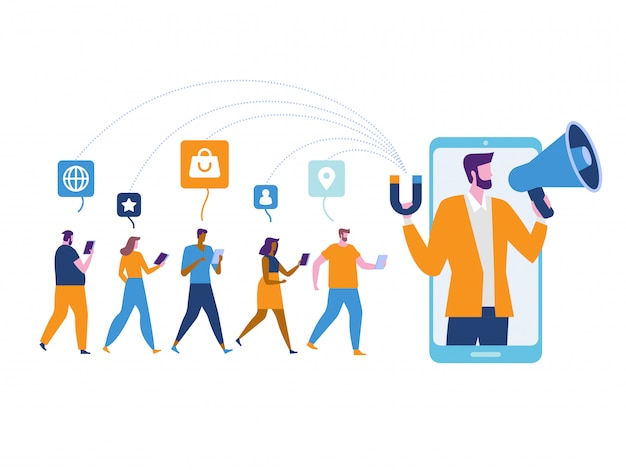 Influencer marketing. potentiële kopers van producten