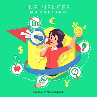 Influencer marketing vector met een jong meisje