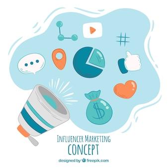 Influencer marketing vector met luidspreker en symbolen