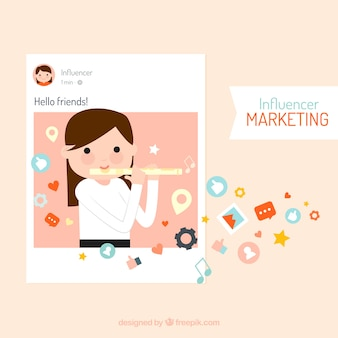 Influencer marketing vector met meisjes spelen fluit